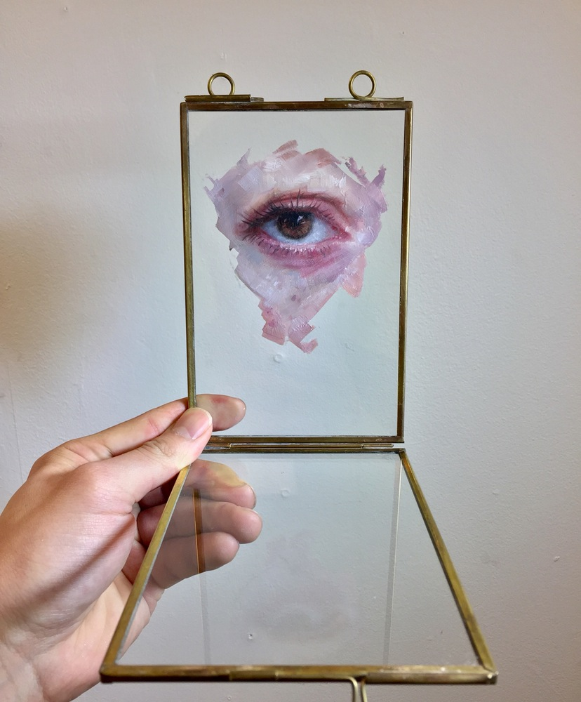 Oil Paintings of Eyes and Mouths on Glass by Henrik Uldalen