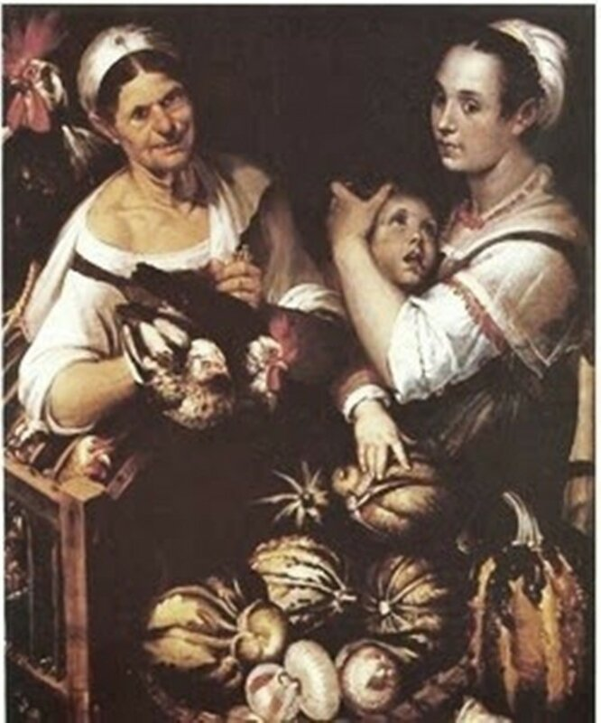 4 Bartolomeo Passarotti (Italian artist, 1529-1592)  Two Market Women with boy selling poultry gourds & onions (1).jpg