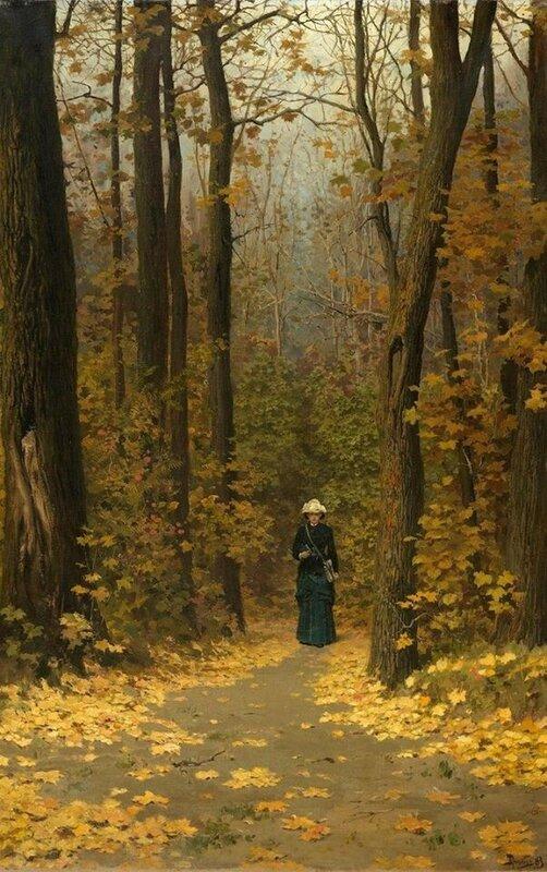 Поленов Василий Дмитриевич (1844 - 1927) - Женщина, идущая по лесной тропинке. 1883.jpg