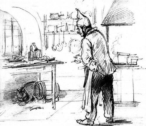 М.С. Башилов. Иллюстрация к басне И.А. Крылова «Кот и Повар».jpg