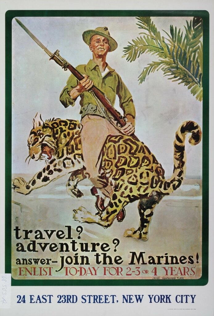 Travel? Adventure? Answer Join the Marines! by James Montgomery Flagg (1917)