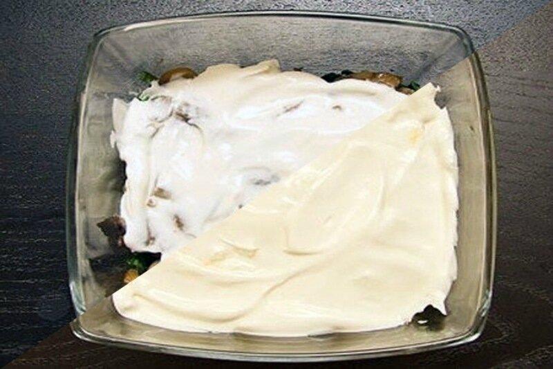 Вкусный салат «Сказка» с куриной грудкой и шампиньонами (грибами)