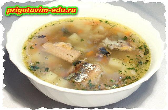 Суп с сардинами и зеленью