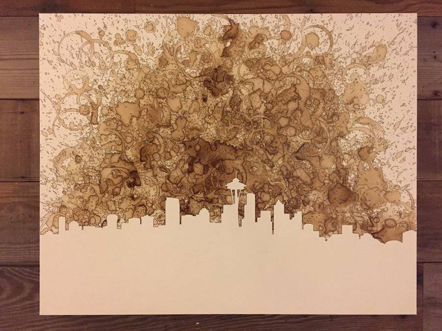 Inventive Artworks Made with Coffee on Canvas (13 pics)