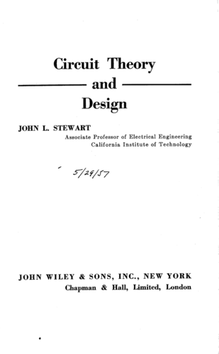 Circuit Theory and Design - John L. Stewart - Book Cover