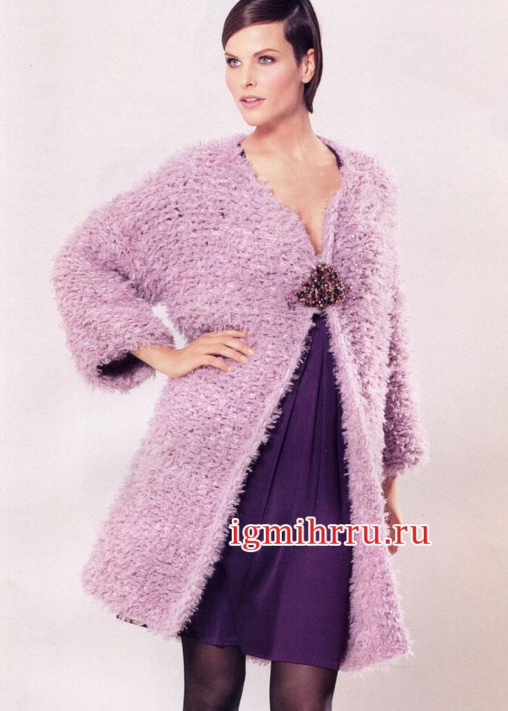 Женственное пальто нежного розового цвета. Вязание спицами