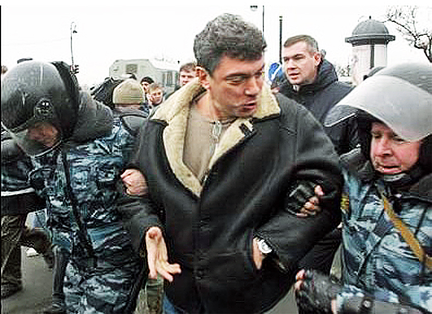 Nemtsov is detained at an opposition rally in St. Petersburg, November 25, 2007.