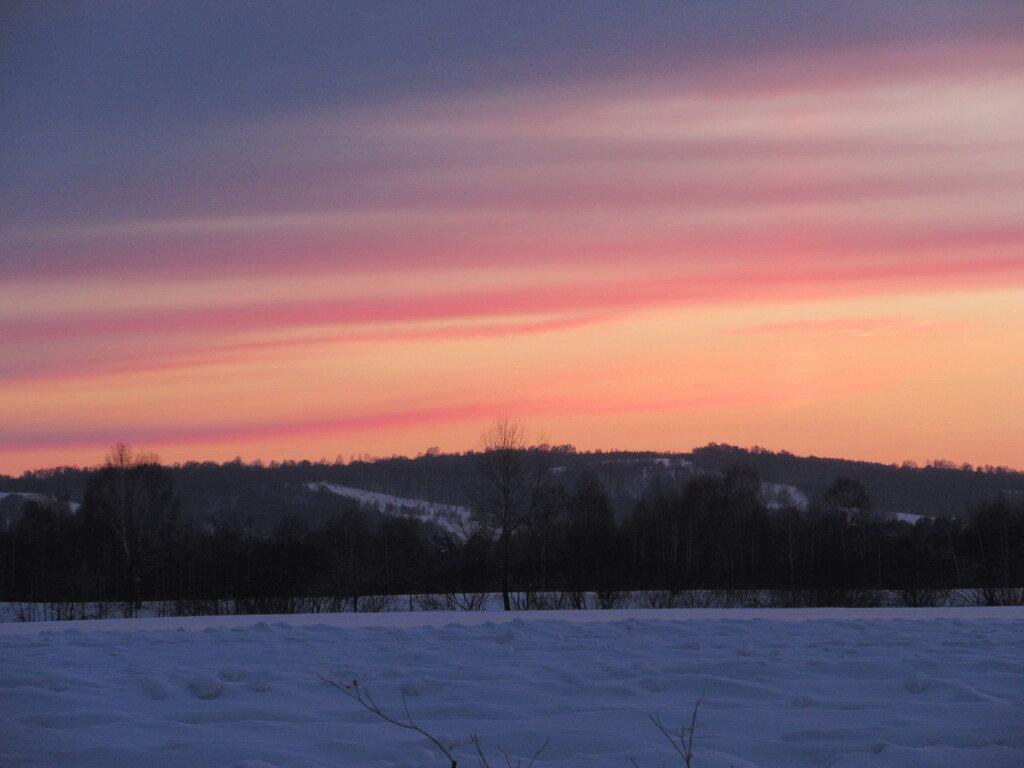 Закат, зима, Сибирь, февраль, Кузбасс