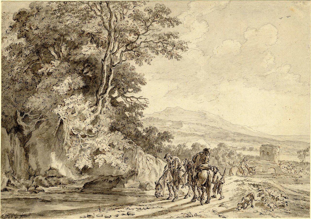 Пейзаж с путешественниками (1633-1652) (179 х 254 мм) (Лондон, Британский музей) (перо и коричневые чернила, размывка серым).jpg