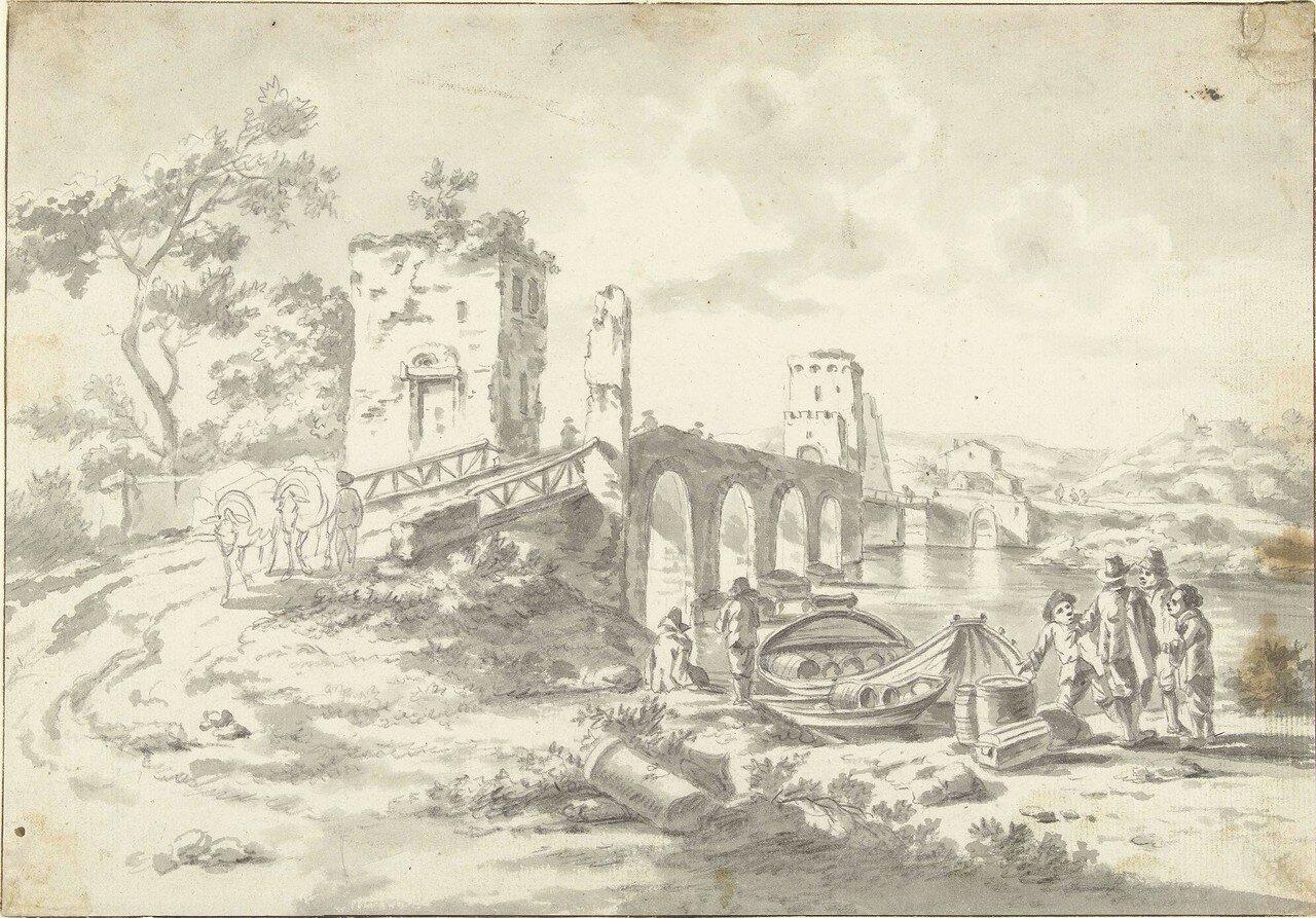 Пейзаж с мостом Понте Молле (не датировано) (232 х 333 мм) (Амстердам, Гос. музей) (кисть и серые чернила).jpg