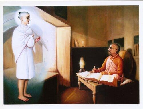 Гауранга является Шриле Прабхупаде в его комнате во Вриндаване перед поездкой в Америку