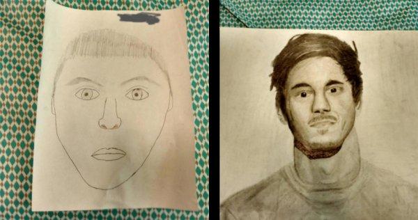 Навыки рисования до и после семестра в школе рисования.
