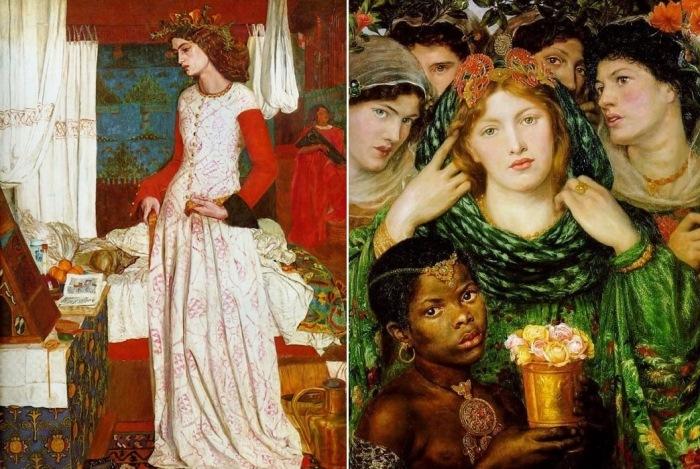 Слева – Уильям Моррис. Прекрасная Изольда (Королева Джиневра), 1858. Натурщица – Джейн Берден. С