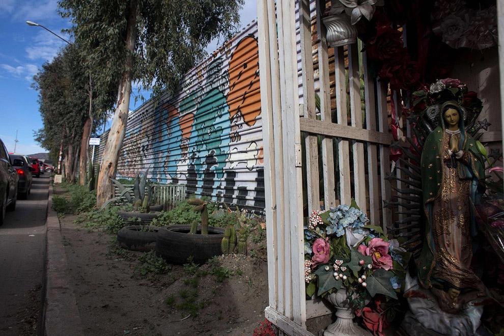 11. Стена на границе с Мексикой и мексиканский ослик, 14 февраля 2017. (Фото Jim Watson):