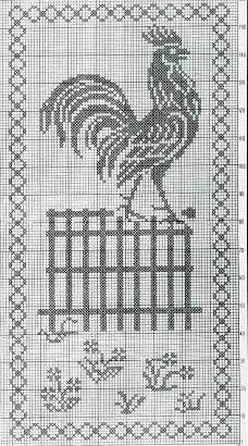 Схемы для вышивки монохромных петухов