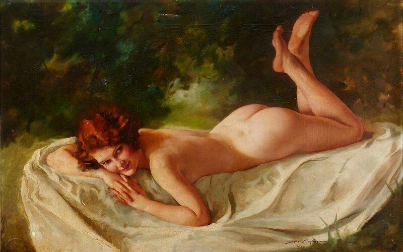 Лежащая обнаженная (Reclining Nude)_х.,м._Частное собрание.
