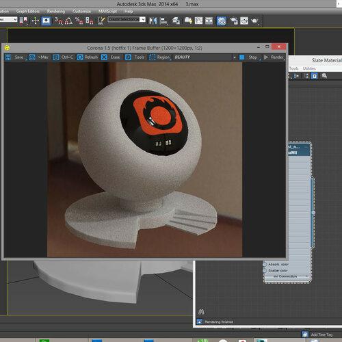 """corona render 1 - первый рендер, пока - весьма """"шумный"""""""