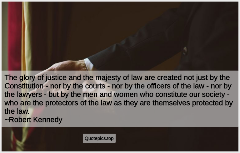 The glory of justice and the majesty of law are created not just by the Constitution - nor by the courts - nor by the officers of the law - nor by the lawyers - but by the men and women who constitute our society - who are the protectors of the law as they are themselves protected by the law. ~Robert Kennedy