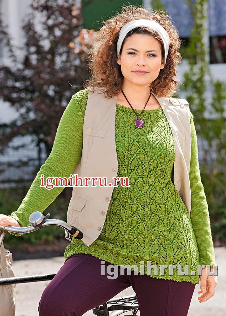 Для пышных дам. Ажурный зеленый пуловер. Вязание спицами