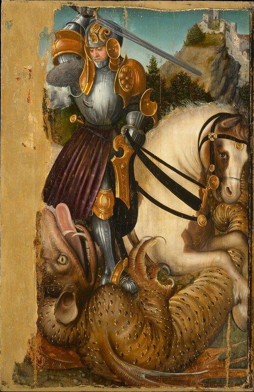 Святой Георгий и дракон (Saint George Fighting the Dragon)_1510-1520_74 х 49_д.,м._Вена, Музей истории искусств.jpg