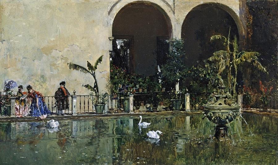 1868_Пруд в садах Алькасара в Севильи (Estanque en los jardines del Alcazar de Sevilla)_10 х 16.4_д.,м._Мадрид, музей Прадо.jpg