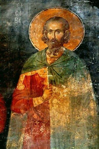 Святой мученик Савва Стратилат. Фреска монастыря Хора в Константинополе. 1315 - 1321 годы.