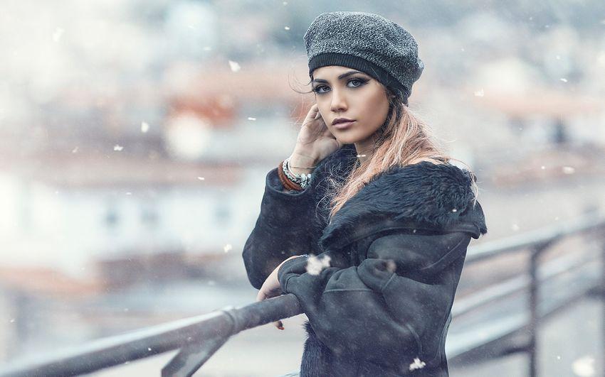 Новый год, красивая девушка, зима