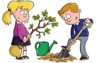 14 мая Всероссийский день посадки леса. Мальчик и девочка сажают дерево