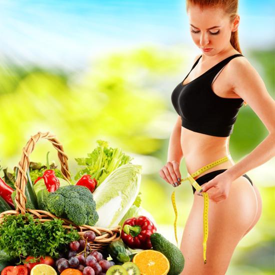 Dieting. Balanced diet based on raw organic vegetables