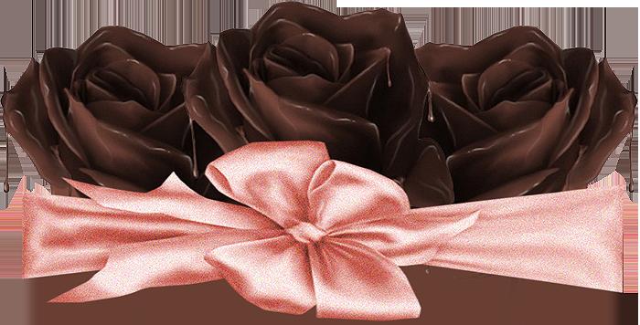 Открытки. С днем шоколада! Три шоколадных розы