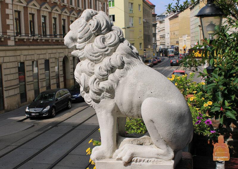 Лев в кафе при доме Хундертвассера