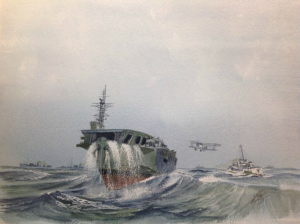 HMS Nairana and the Corvette HMCS Rosthern. On convoy escort. Landing on was never easy in the Northern Oceans.