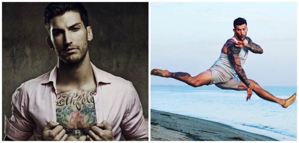 Адам— бывший боец ММА, внастоящем— актер, модель, фитнес-тренер исчастливый отец двоих де