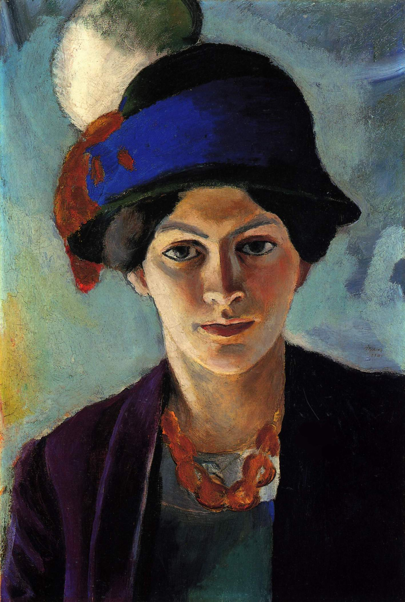 Жена художника в синей шляпе, 1909 год, Маке Август, ...Из собрания шедевров мировой живописи... (848).jpg