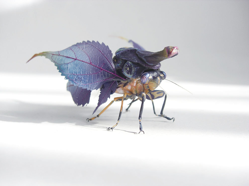 Japanese artist Hiroshi Shinno  builds hyperrealistic sculptures of insects that don't exist, perfec
