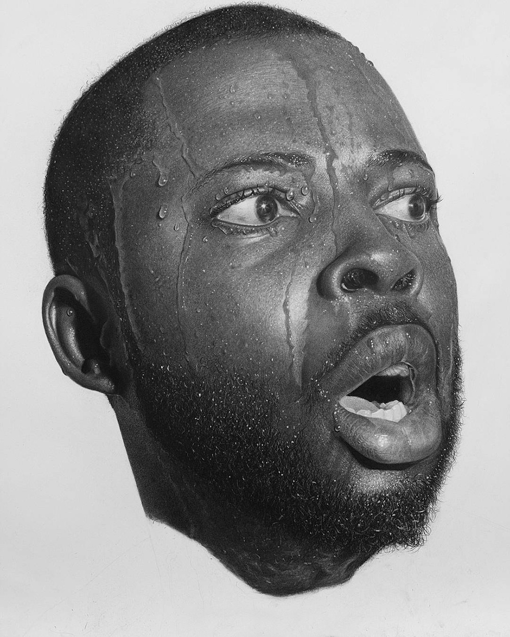INSOMNIA, 2017. 27″ X 42″. Progress photo. Graphite and charcoal pencils on Strathmore 3