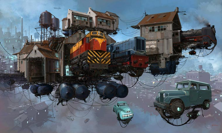Flying Cars - Les illustrations retro-futuristes d'Alejandro Burdisio