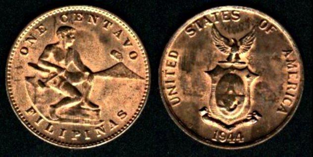 6. Монеты, выпущенные в ознаменование победы в войне, Филиппины, 1944 год В ходе Второй Мировой войн