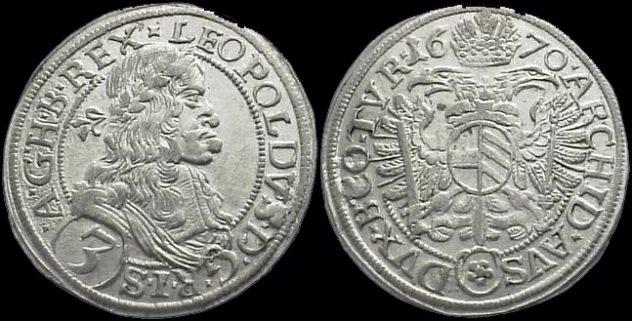 10. Серебряный талер Леопольда I, Священная Римская империя Аверс монеты украшен профилем императора