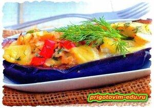 Жаренные баклажаны с рыбой и сыром