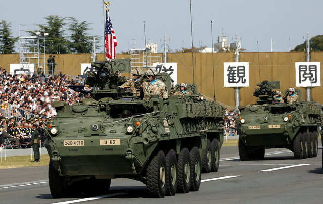 The U.S. Army's Stryker vehicles take part in the annual ceremony of Japan's Self-Defence