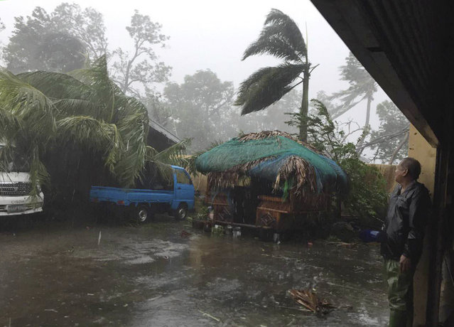 A man takes cover as strong winds and rain topple trees while Typhoon Haima lashes Narvacan, Ilocos