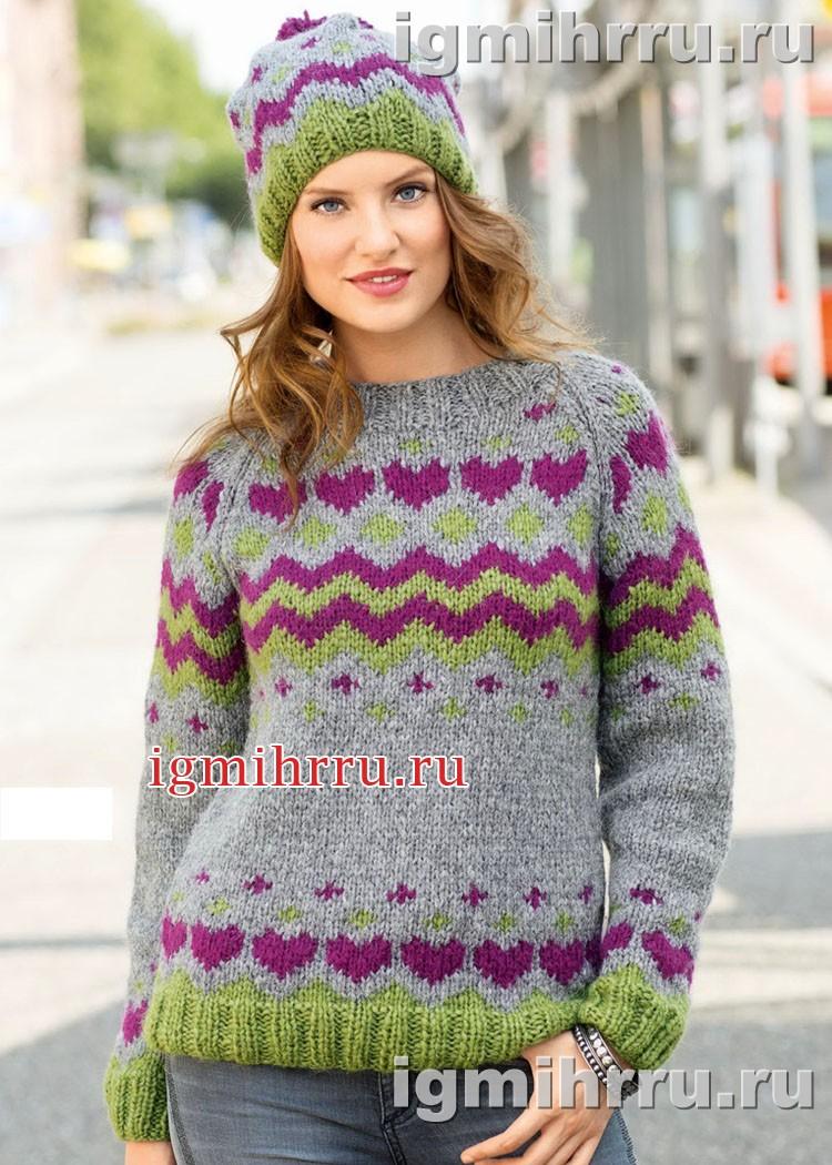 Теплый комплект с жаккардовыми узорами: пуловер-реглан и шапка. Вязание спицами