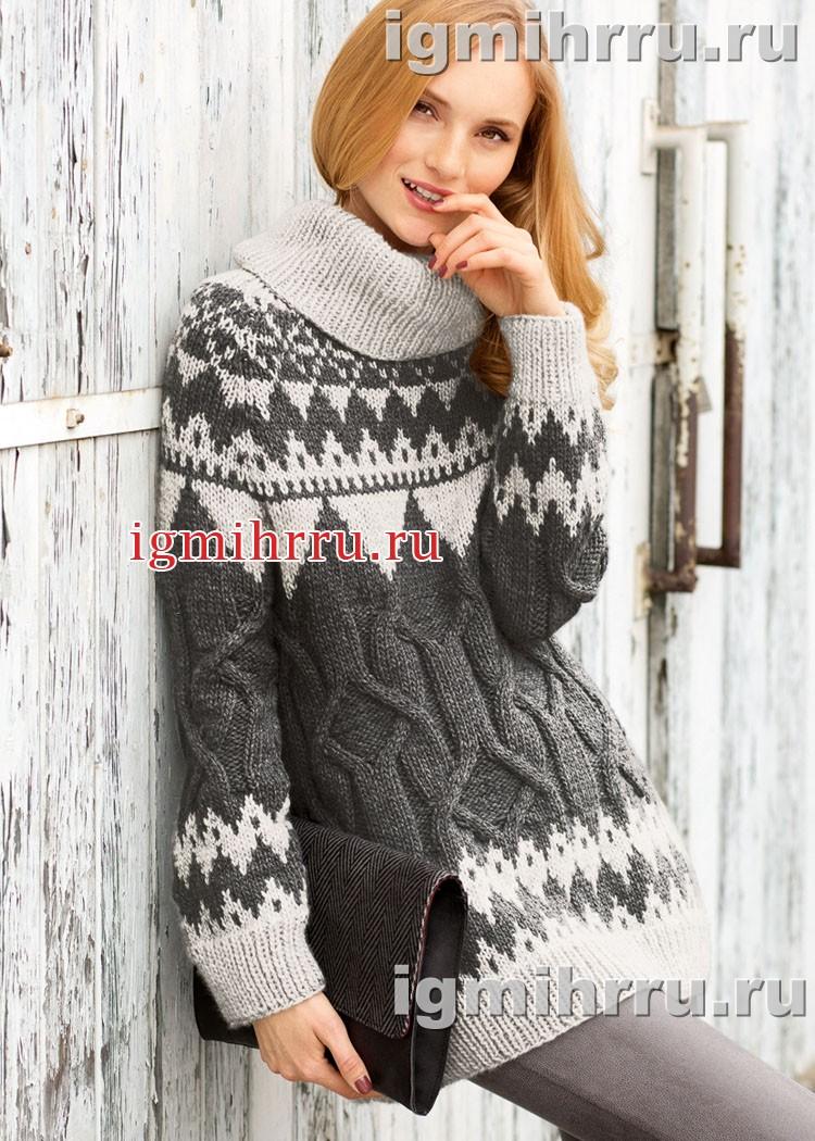 Кашемировый свитер с жаккардовыми и рельефными узорами. Вязание спицами