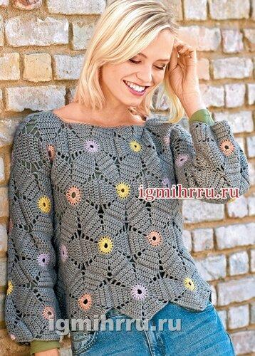 Пуловер из цветочных шестиугольников. Вязание крючком