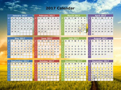 календарьна 2017 с фоновым изображением