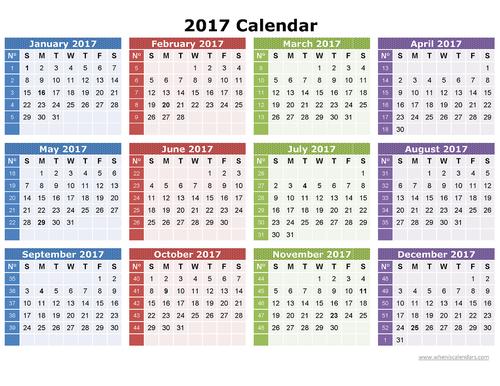 2017 календарь распечатать