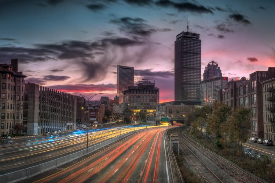 Sunrise on the Masspike in Boston.