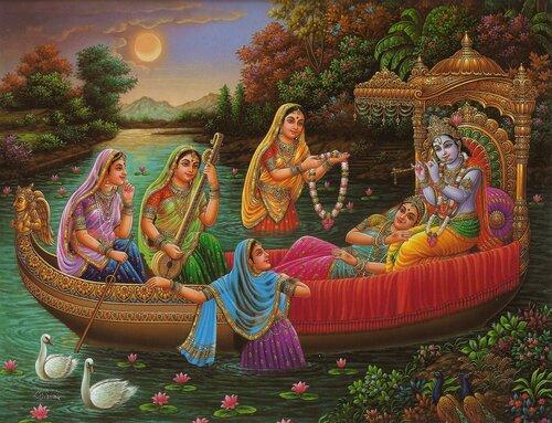 Шри Шри Радха-Кришна с гопи