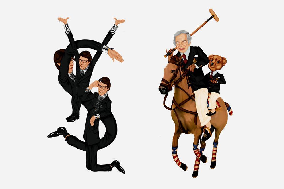 Ив Сен-Лоран в Yves Saint Laurent и Ральф Лорен в Ralph Lauren.